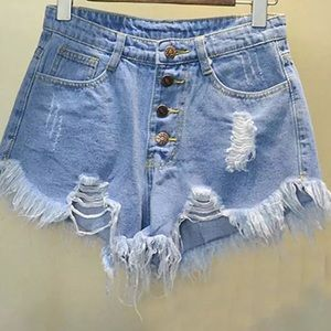 Pants - Distressed High-Waisted Jean Shorts